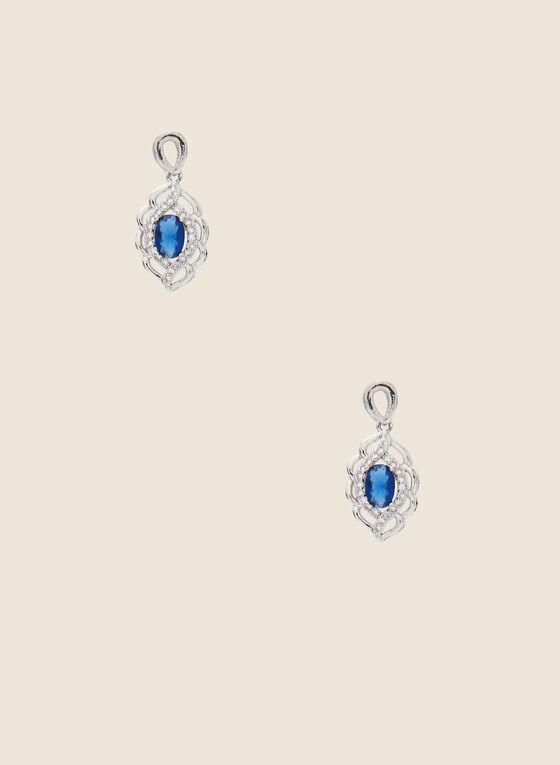 Filigree Cutout Earrings, Blue