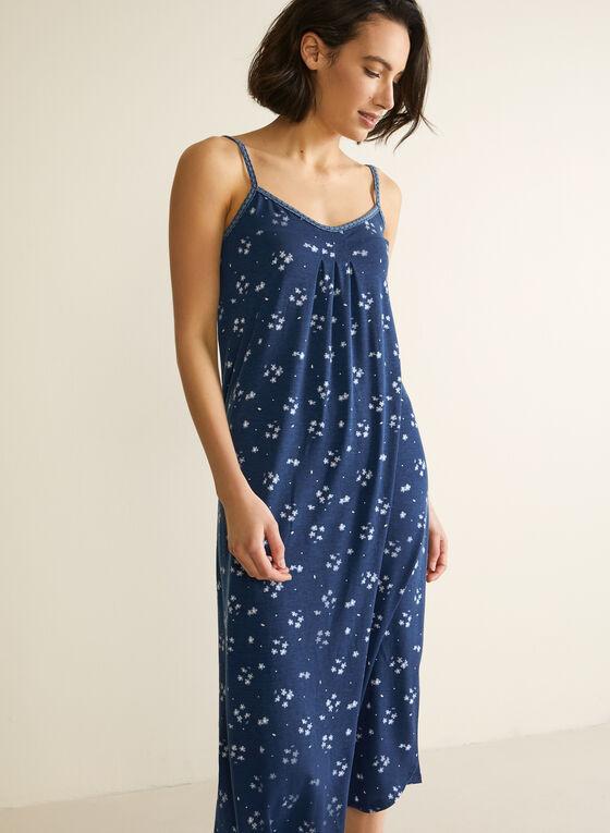Robe de nuit longue à bretelles, Bleu