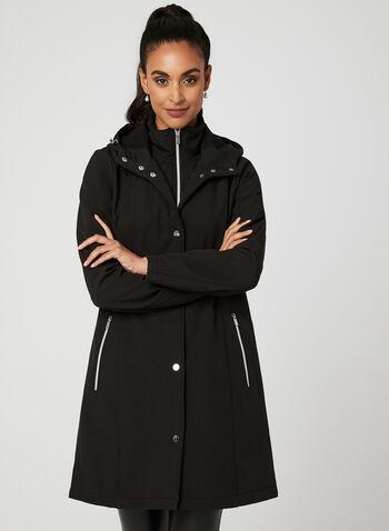 Manteau à coquille souple et capuchon , Noir, hi-res