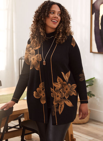 Floral Print Cardigan, Black,  fall winter 2020, cardigan, mid-length, knit, open, long sleeves, contrasting, pattern, floral, jacquard, placed