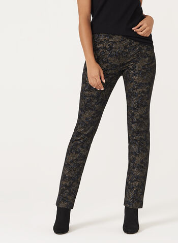 Metallic Floral Print Pull-On Pants, , hi-res