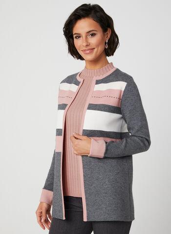 Cardigan ouvert à blocs de couleurs, Gris, hi-res,  cardigan, ouvert, manches longues, revers, blocs de couleurs, automne hiver 2019