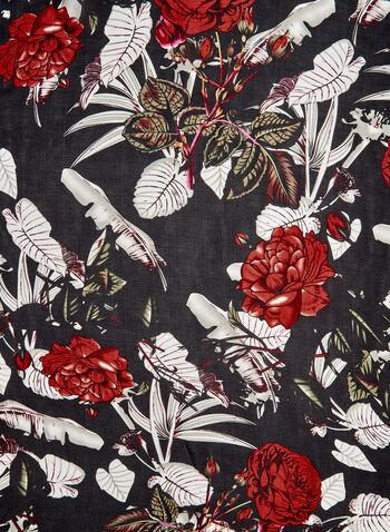 Foulard oblong motif floral, Rouge,  foulard, léger, fleurs, feuilles, automne hiver 2019