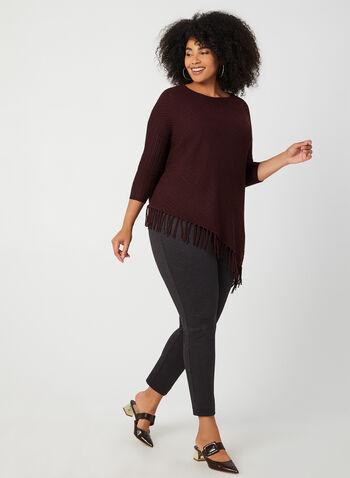 Asymmetric Fringe Sweater, Purple, hi-res,  fringe, sweater, boat neck, ¾ sleeves, Fall 2019, Winter 2019