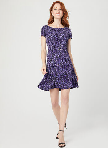 Abstract Print Dress, Purple, hi-res