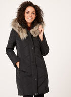Quilted Faux Down Coat , Purple, hi-res