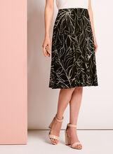 Floral Print A-Line Midi Skirt, Black, hi-res