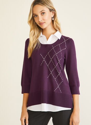 Argyle Detail Fooler Sweater, Purple,  sweater, fooler, shirt collar, contrast, argyle, fall winter 2020