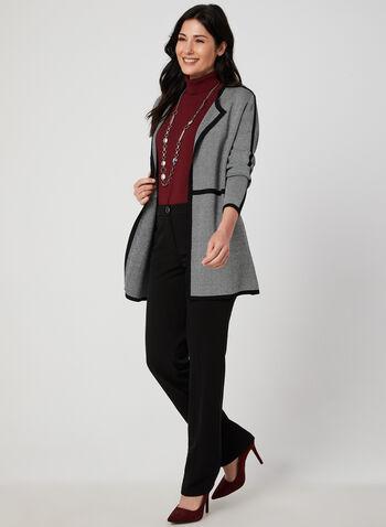 Pantalon coupe moderne à jambe droite, Noir, hi-res,  pantalon, moderne, jambe droite, fausses poches, automne hiver 2019
