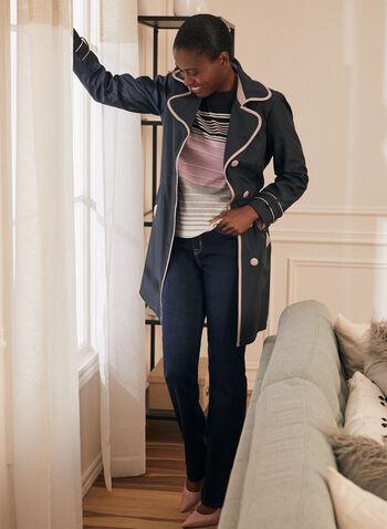 Novelti - Contrast Detail Trenchcoat, Blue,  coat, trenchcoat, contrast, buttons, ribbon, belt, lapel collar, spring summer 2020