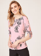 Floral Print Short Sleeve Top, Multi, hi-res