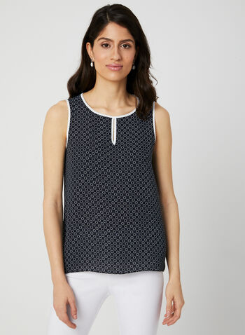 Geometric Print Sleeveless Top, Blue, hi-res,  crepe, sleeveless, scoop neck, fall 2019