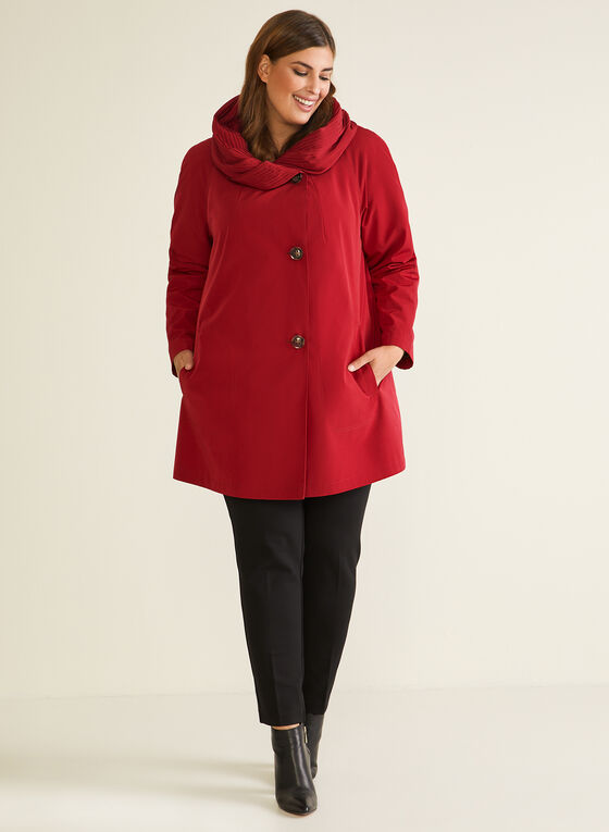 Hooded Button Front Coat, Red