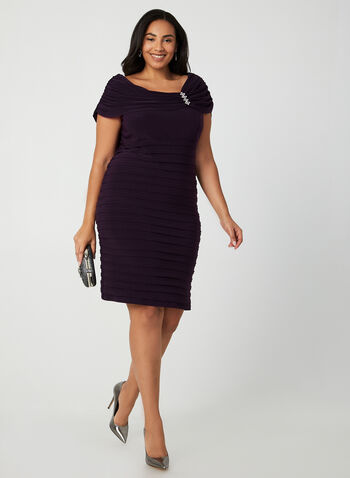 Jersey Drape Dress, Purple, hi-res,  cocktail dress, off-the-shoulder, sleeveless dress, dress, rhinestones, winter 2019, fall 2019