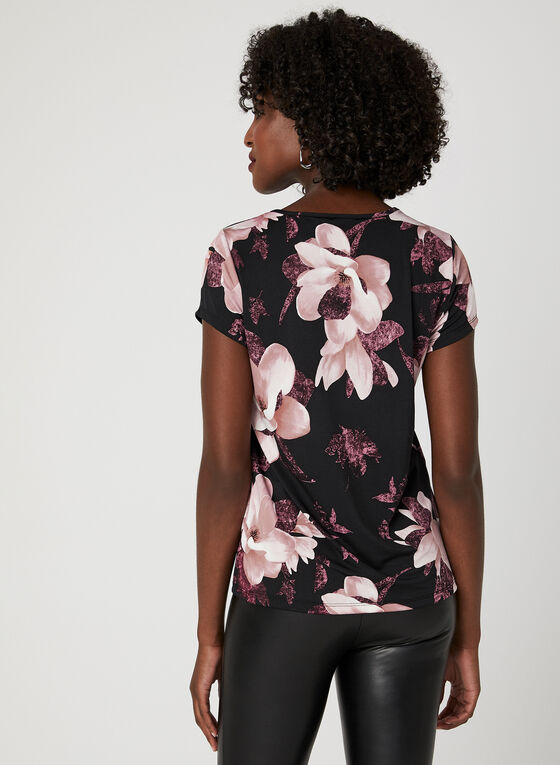Haut fleuri à manches courtes et effet lacé, Noir, hi-res