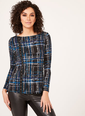 Studded Abstract Print Blouse, Blue, hi-res