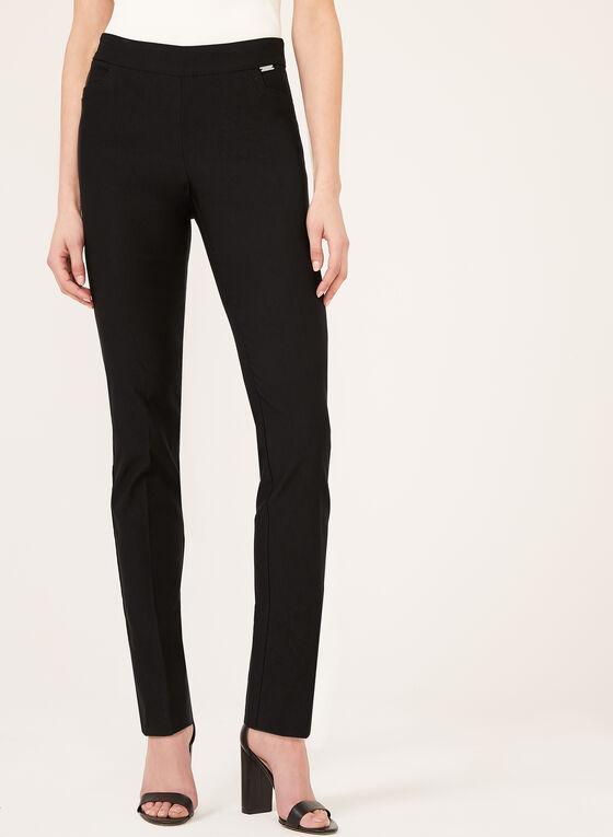 Pantalon pull-on à jambe droite en bengaline, Noir, hi-res