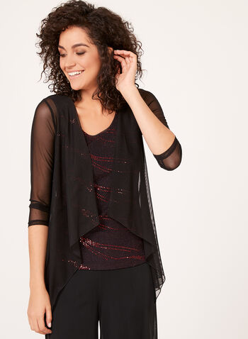Glitter Top with Built-in Mesh Cardigan, Red, hi-res