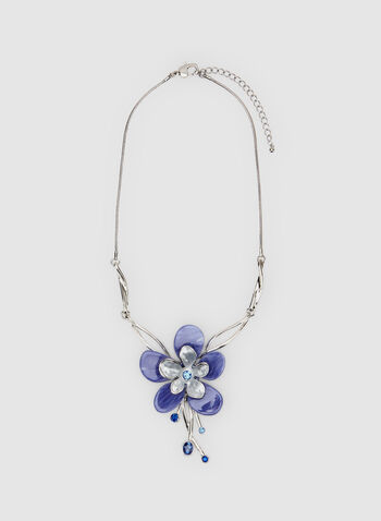 Flower Pendant Necklace, Blue, hi-res