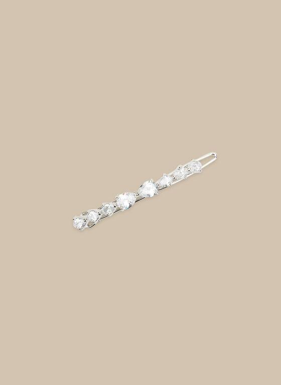 Teardrop Crystal Hair Clip, Silver
