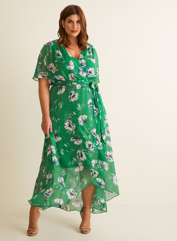 Floral Print Maxi Dress, Green,  spring summer 2020, floral print, chiffon fabric, flutter sleeves, sash at waist, surplice neckline