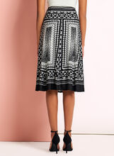 Graphic Print A-Line Skirt, Black, hi-res