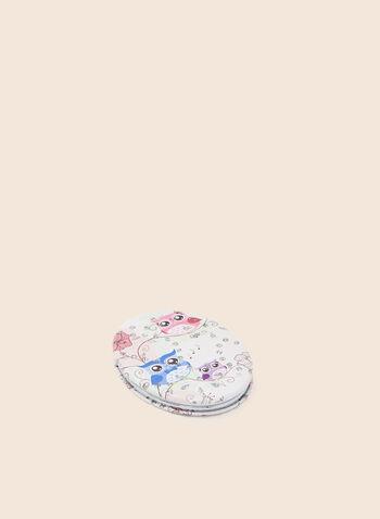 Owl Print Compact Mirror, Multi,  mirror, oval, owl, rhinestone, spring summer 2020