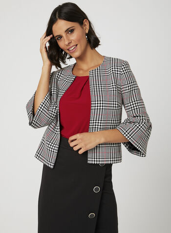 Glen Plaid Print Jacket, Black, hi-res
