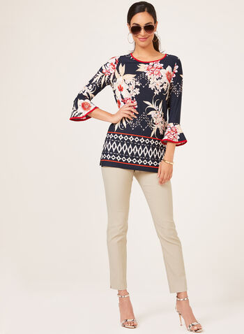 Mix Print ¾ Bell Sleeve Top, Blue, hi-res