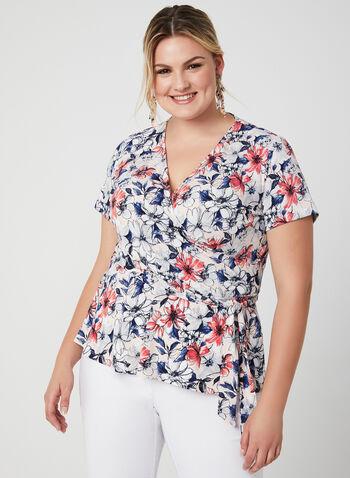 Floral Print Short Sleeve Top, Multi, hi-res