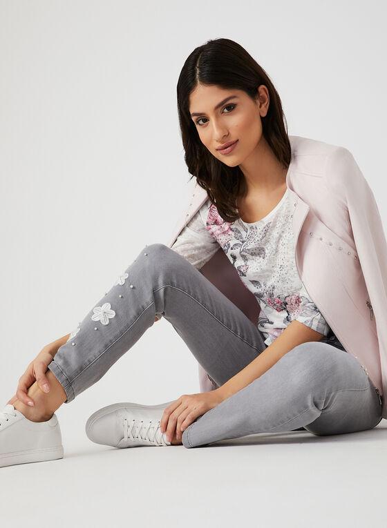T-shirt fleurs et rayures à détails strass, Multi