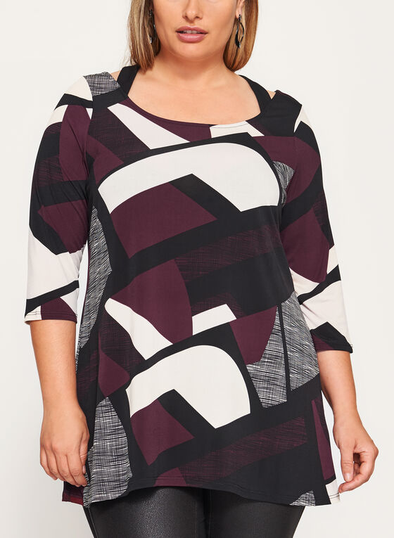 Geometric Print Cold Shoulder Tunic , Black, hi-res