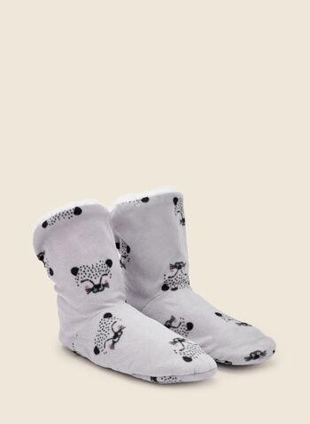 Animal Print Boot Slippers, Grey,  fall winter 2020, sleepwear, slippers, boot, animal print
