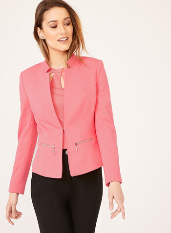 Structured Ponte Blazer, Orange, hi-res