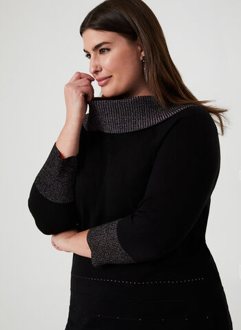 Lurex Marilyn Collar Sweater, Black, hi-res,  marilyn neck, marilyn, 3/4 sleeves, rhinestones, glitter sweater, metallic sweater, sweater, knit, Holiday, fall 2019, winter 2019