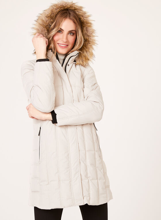 Hooded Quilted Polyfill Coat, Off White, hi-res