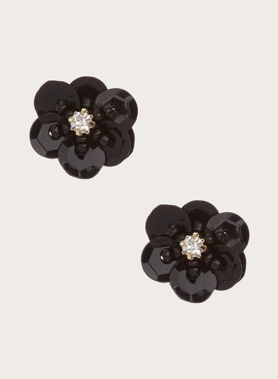 Flower Stud Earrings , Black, hi-res