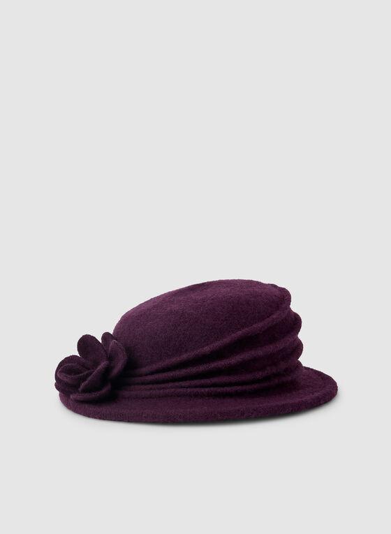 Wool Cloche Hat, Purple