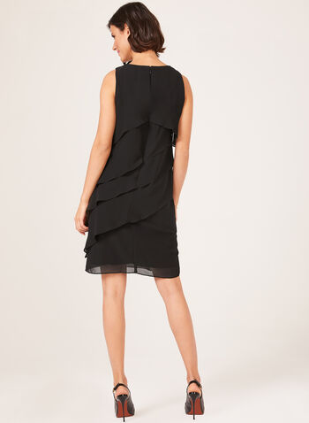 Tiered Chiffon Dress, Black, hi-res
