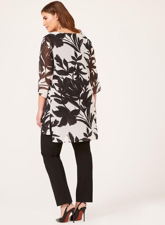 Floral Popover Tunic, Black