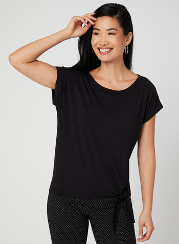 Tie Front Short Sleeve T-Shirt, Black, hi-res