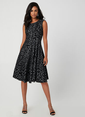 Leopard Print Fit & Flare Dress, Grey, hi-res,  fall winter 2019, leopard print, sleeveless