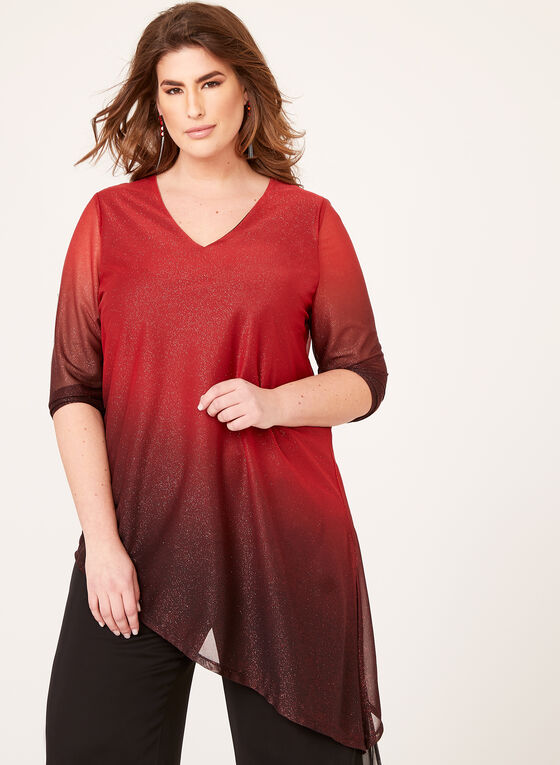 Asymmetric Hem Ombré Blouse, Red, hi-res