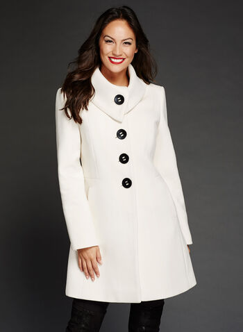 Wool-Like Envelope Collar Coat, Off White, hi-res
