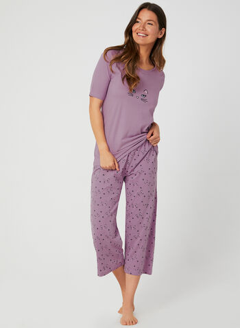Bellina - Cat Print Pyjama Set, Purple, hi-res,  pyjama, cotton, two piece, t-shirt, elastic waist, capris