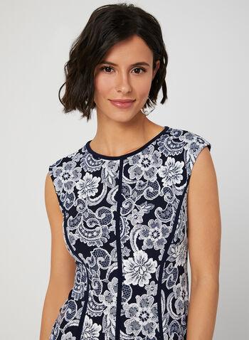 Robe courte à fleurs texturées, Bleu, hi-res,  printemps été 2019, sans manches, panneaux, ajustée, évasée, jersey, motif, contrastant