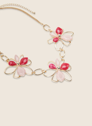Floral Stone & Metallic Necklace, Pink,  necklace, short, flowers, stones, metallic, double chain, spring summer 2020
