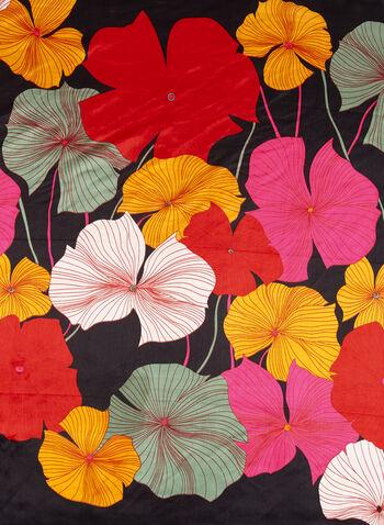 Foulard carré aspect satin et grosses fleurs, Noir, hi-res