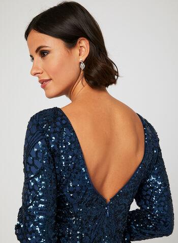 Sequined Mesh Cocktail Dress, Blue, hi-res