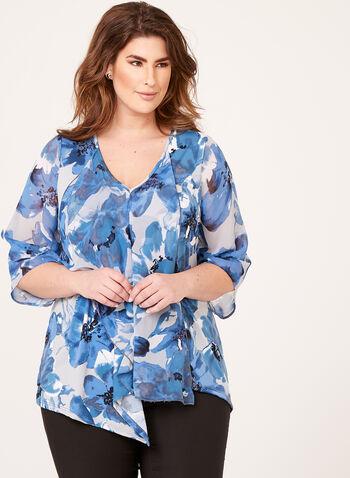 Asymmetric Floral Print Blouse, Blue, hi-res
